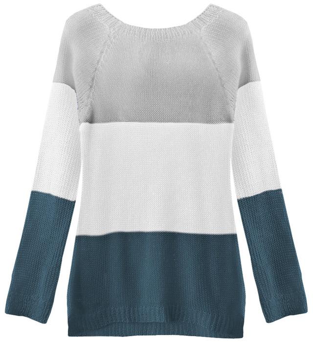 Šedo-bílý svetr s mašlí na zádech (237ART) - ONE SIZE - bílá