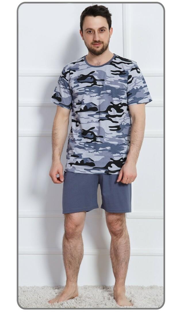 Pánské pyžamo šortky Army nadměr - modrá XXL