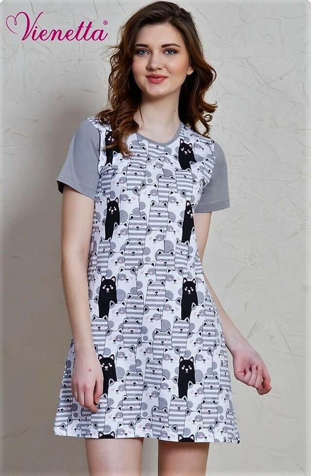 Dámská noční košile s krátkým rukávem Černá kočka - šedá L