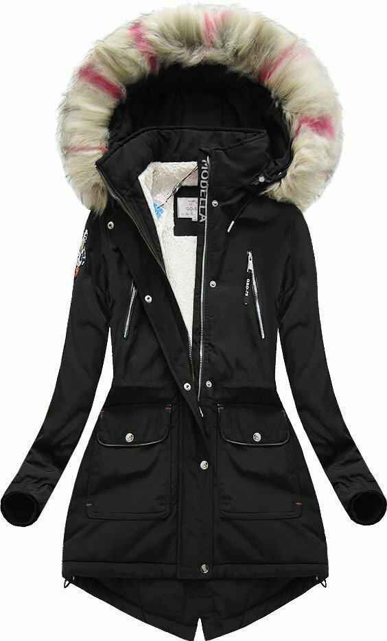 Černá dámská zimní bunda s kapucí (39910) - XXL (44) - černá