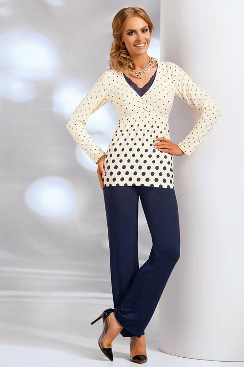 Dámské pyžamo Donna Sonia PJ cream - 3XL - krémová