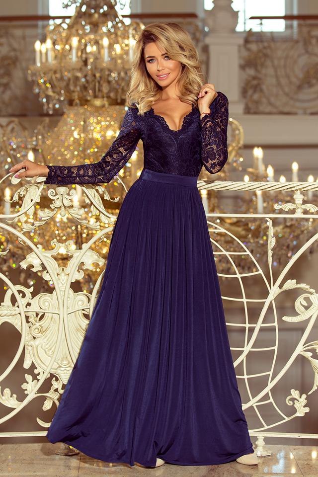 c9881314b69 MADLEN - Dlouhé tmavě modré dámské šaty s krajkovým výstřihem a dlouhými  rukávy 214-1