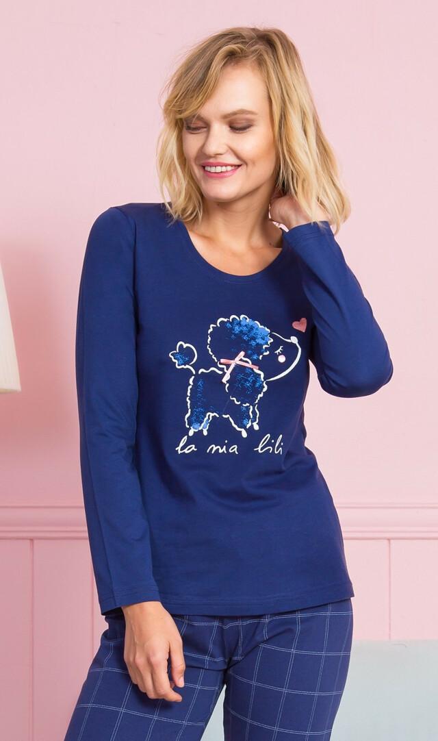 Dámské pyžamo dlouhé Pudlík - světle šedá XL
