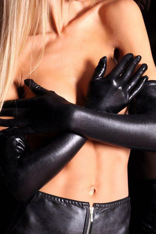 Erotické rukavičky A0214 - S/M - černá