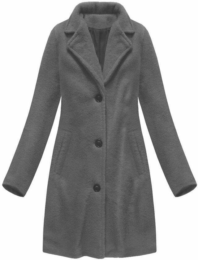 84dba852a73 Jednoduchý tmavě šedý kabát s knoflíky (23086) - M (38) - šedá