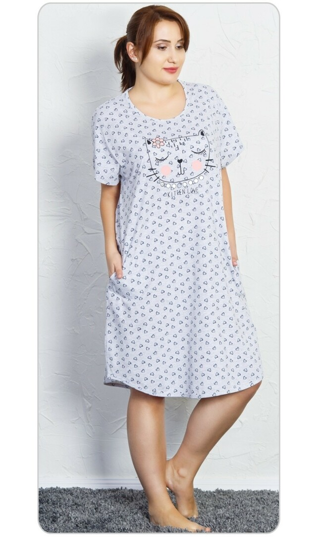 Dámské domácí šaty s krátkým rukávem Kočka - světle šedá 1XL 3ba17e4c89