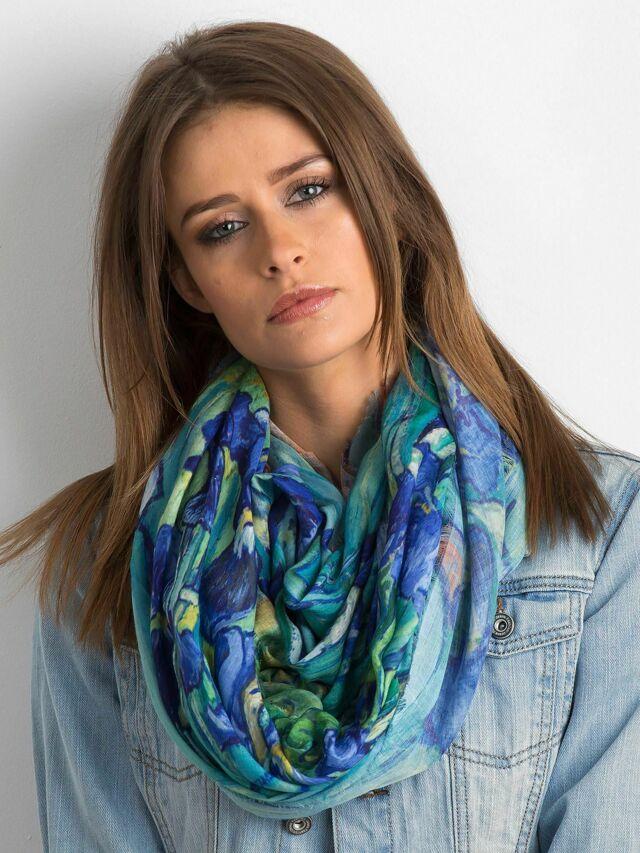 Modro-zelený květinový šátek - ONE SIZE