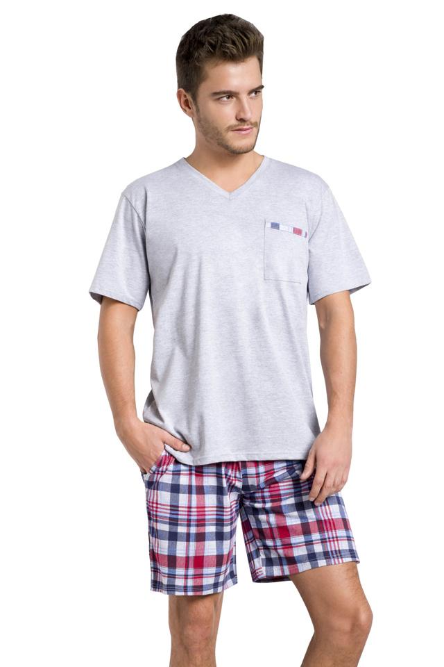 Pánské pyžamo Timon světle šedé krátké - XXL