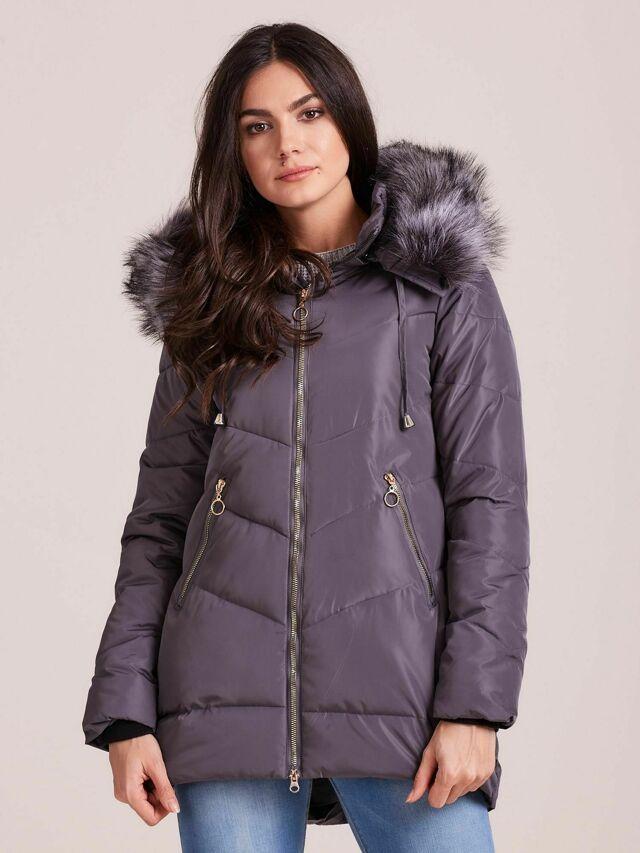 Grafitová zimní bunda s kožešinou na kapuci - S