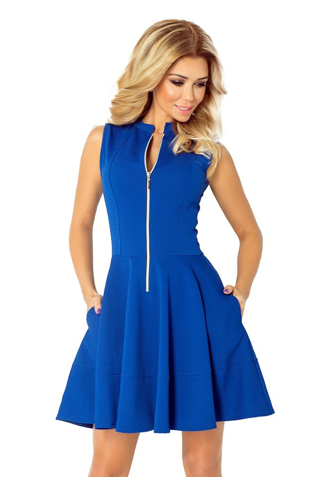 Modrofialové šaty se zipem a kapsami 123-1 - M