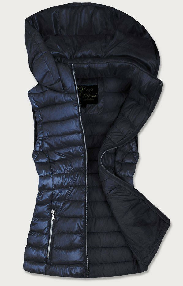 Tmavě modrá prošívaná lesklá dámská vesta (7000) - S (36) - tmavěmodrá