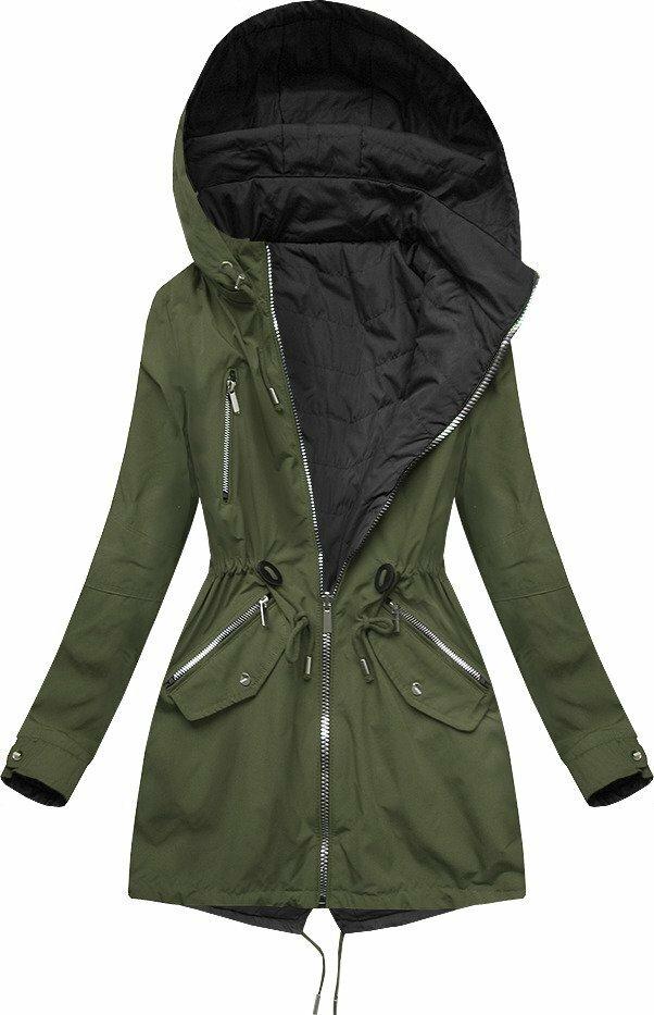 Oboustranná bunda parka v khaki-černé barvě s kapucí (W306) - XL (42) - khaki