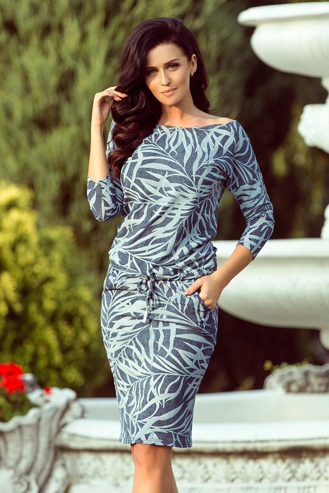 4153e7042bbd Dámské sportovní šaty se zavazováním ve světle modré barvě s listy v  džínové barvě 13-