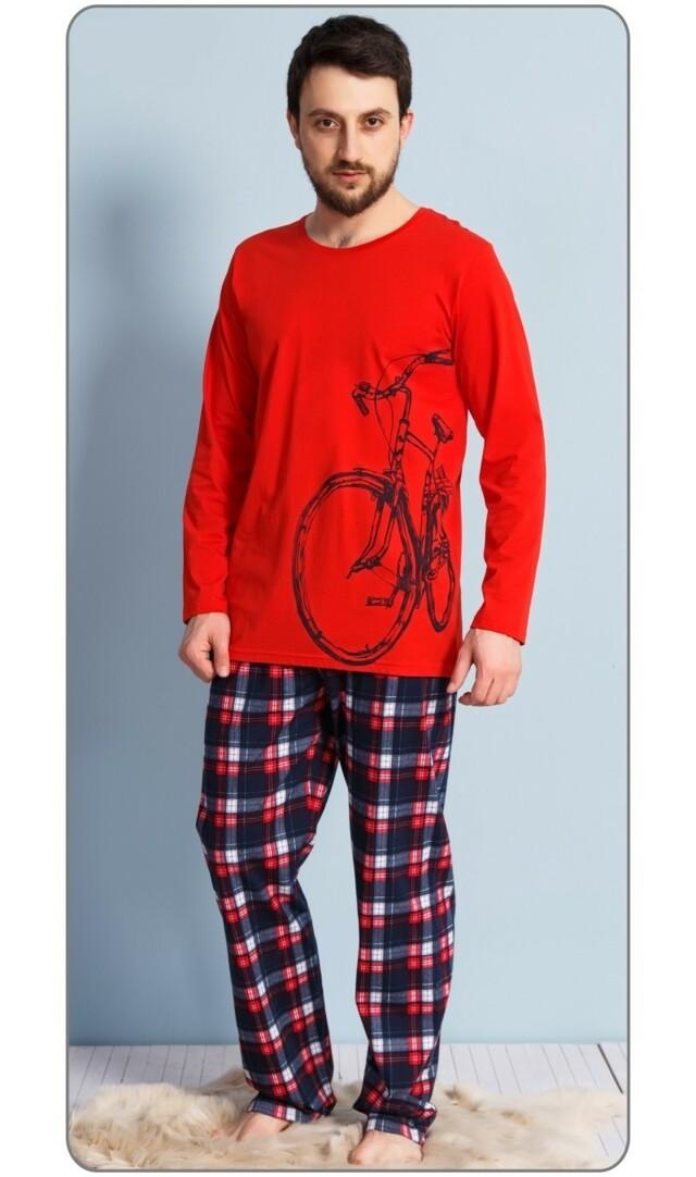 Pánské pyžamo dlouhé Velké kolo - šedá M