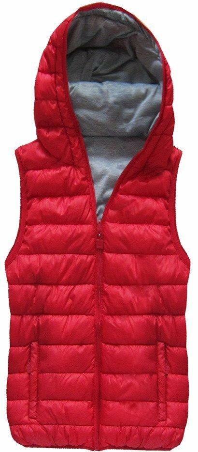 Červená oboustranná vesta s kapucí (B1002) - S (36) - červená