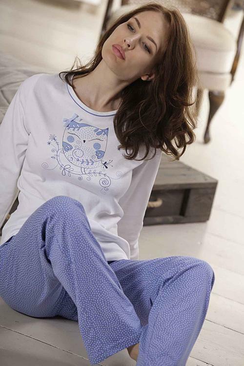 Dámské pyžamo Cana 335 XXL - XXL - bílá-světle modrá