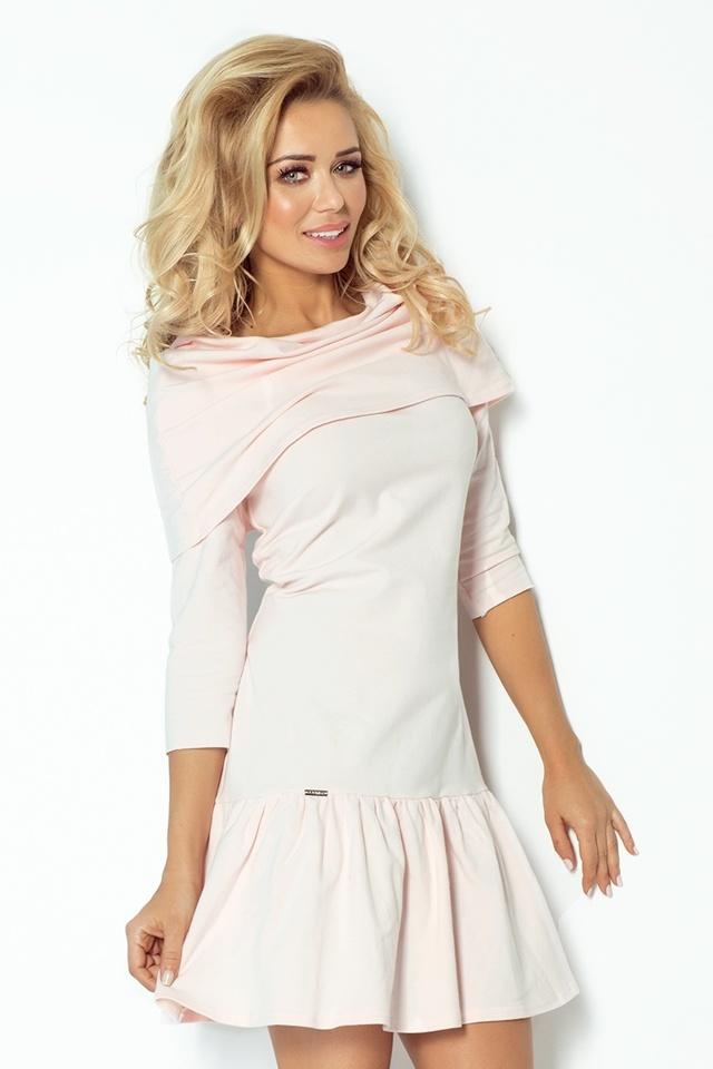Pastelově růžové šaty s volánky a rolákem 108-1 - S