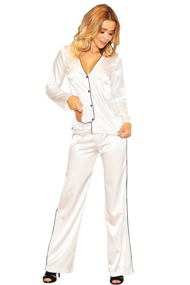 Saténové pyžamo Termi ecru - XL