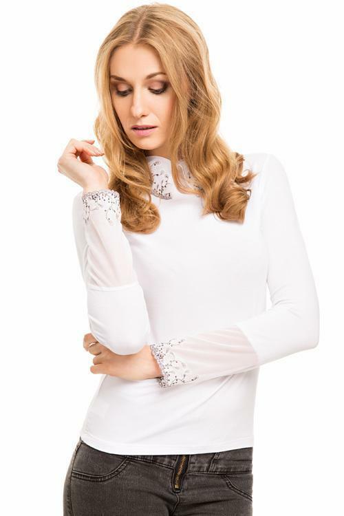Halenka Violana Inez white - dlouhý rukáv