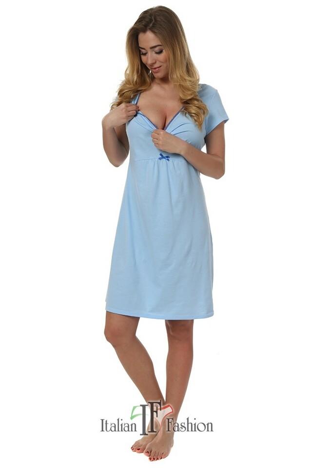 Dámská kojící noční košile Dagna blue - M - světle modrá