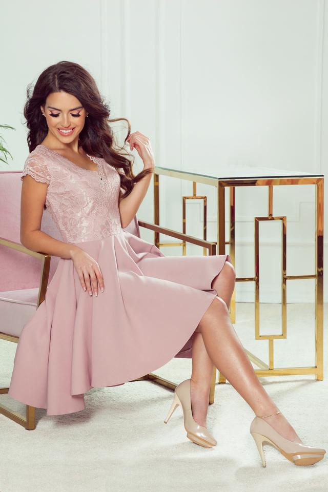 Dámské šaty 300-1 Patricia - L - staro růžová