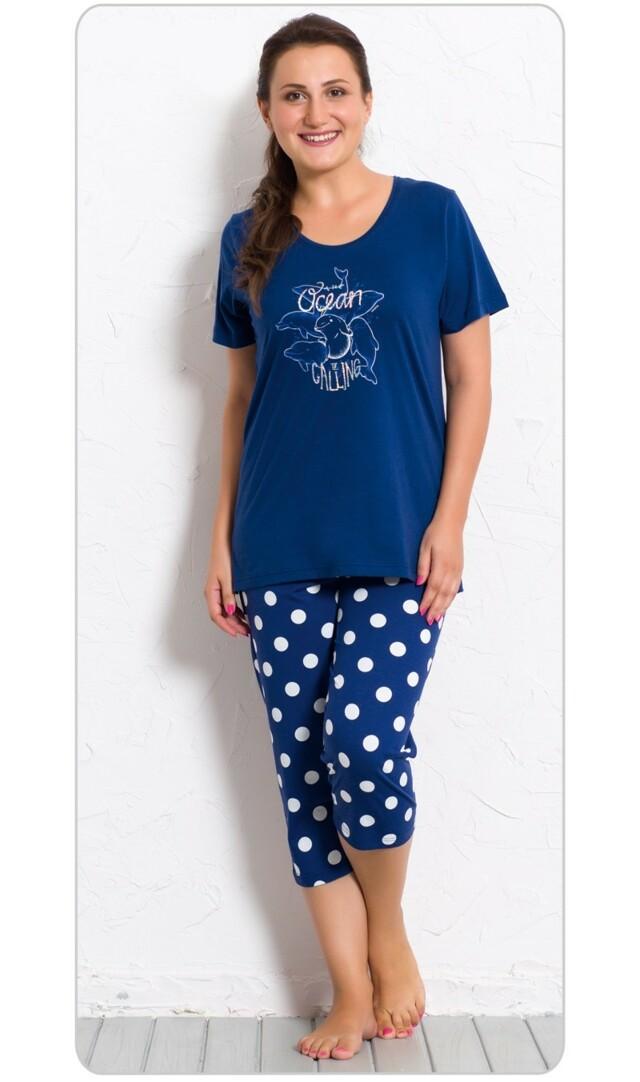 Dámské pyžamo kapri Delfíni - tmavě modrá 1XL
