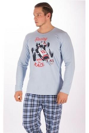 Pánské pyžamo Závodní auto 3132 - Gazzaz - 3XL - modrá s potiskem