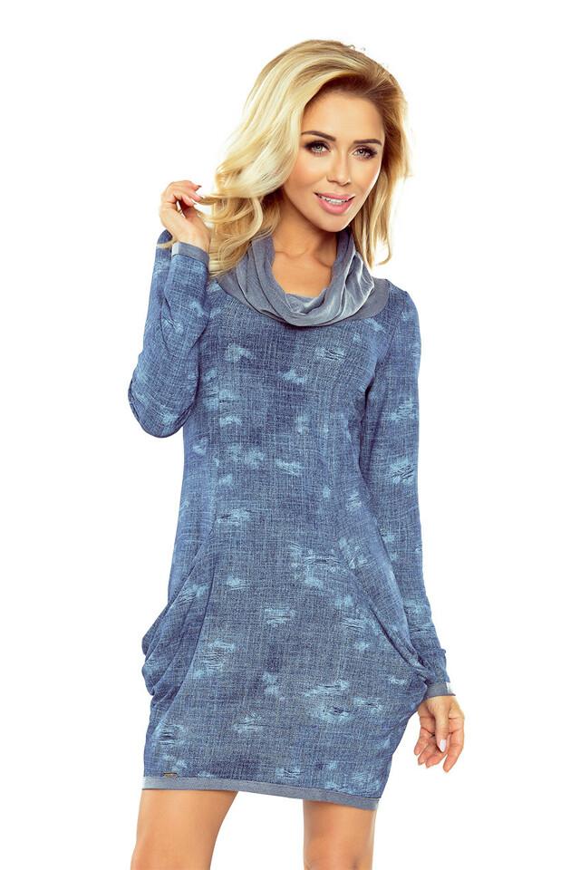 Džínové šaty s rolákem a velkými kapsami 135-5 - L