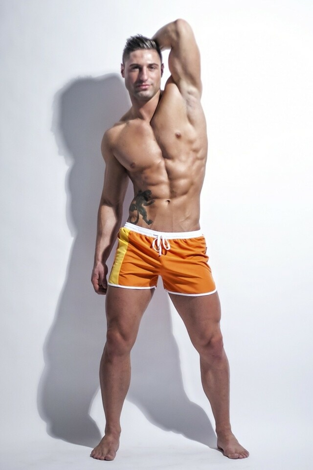 Alpha Male boxerkové plavky Curso oranžové