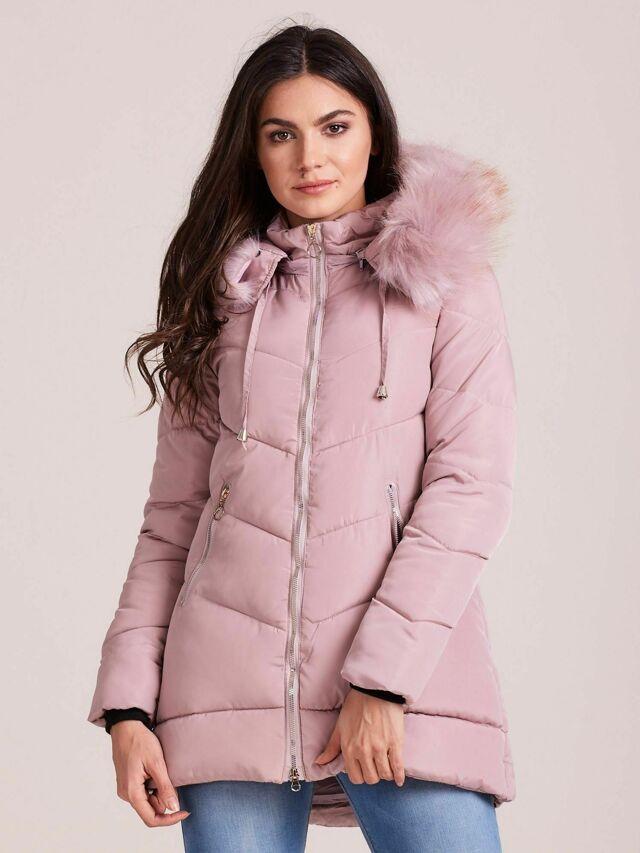 Světle růžová zimní bunda s kožešinou na kapuci - S