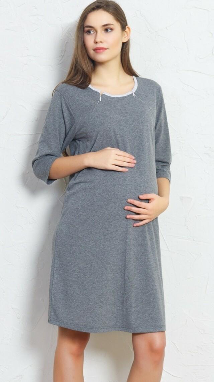 Dámská noční košile mateřská Barbora - tmavě šedá XL