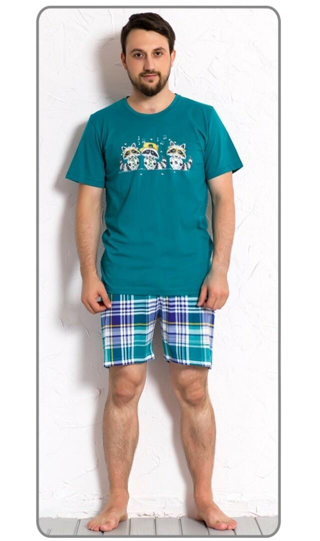 Pánské pyžamo šortky Mývalové - námořnická modrá XXL