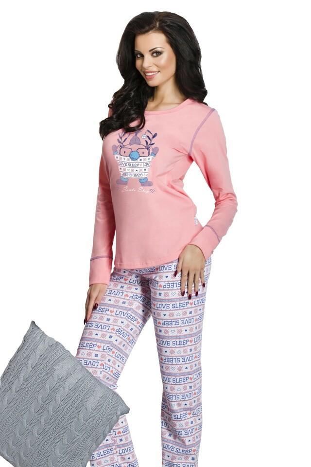 Dámské pyžamo Elza růžové dlouhé - L