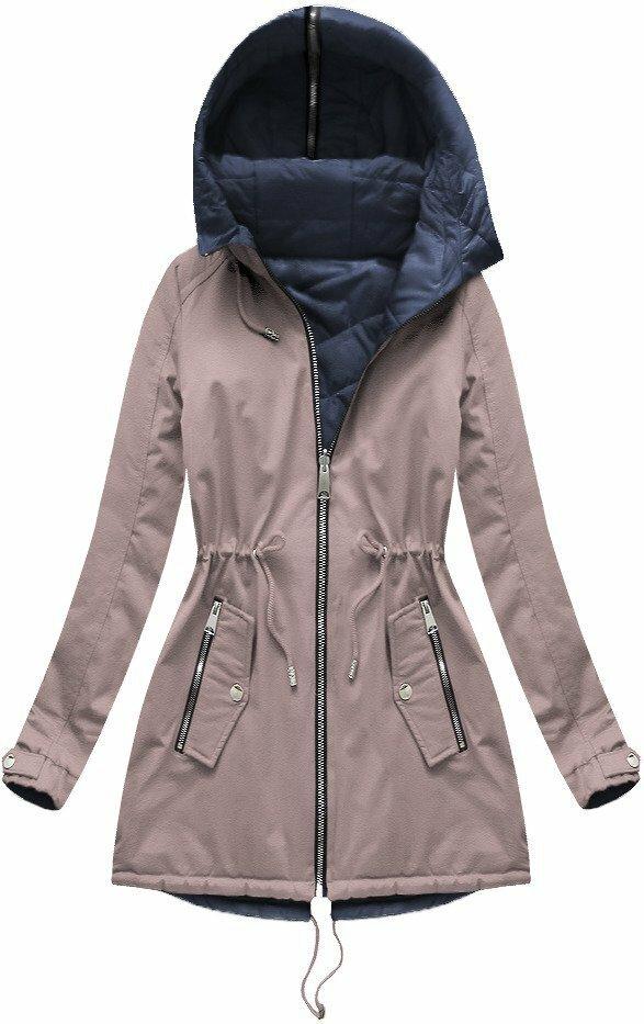 Růžová dámská oboustranná bunda (XW623BIGX) - 46 - růžová