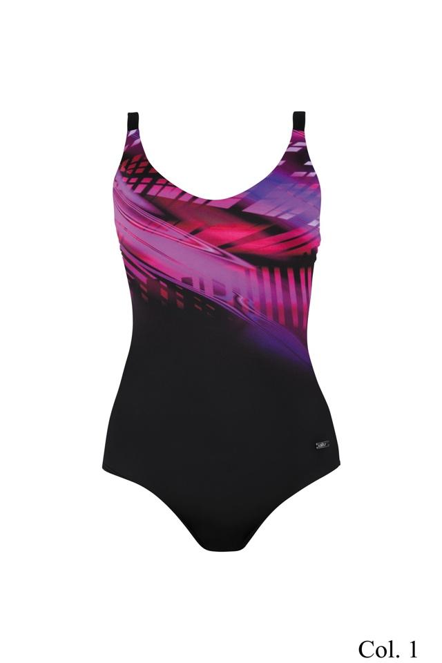 Dámské jednodílné plavky Self 928G1 - 44E - růžovo-černá