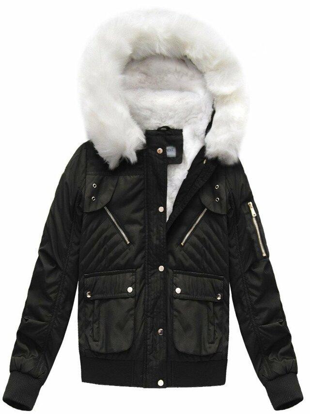 Černá dámská zimní bunda s kapucí (B3706-30)