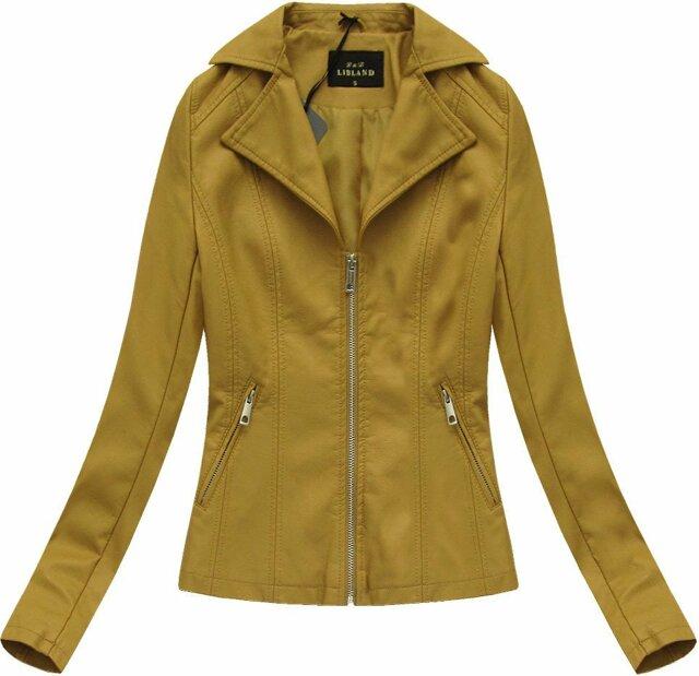 Hořčicová dámská bunda ramoneska (5324) - L (40) - žlutá