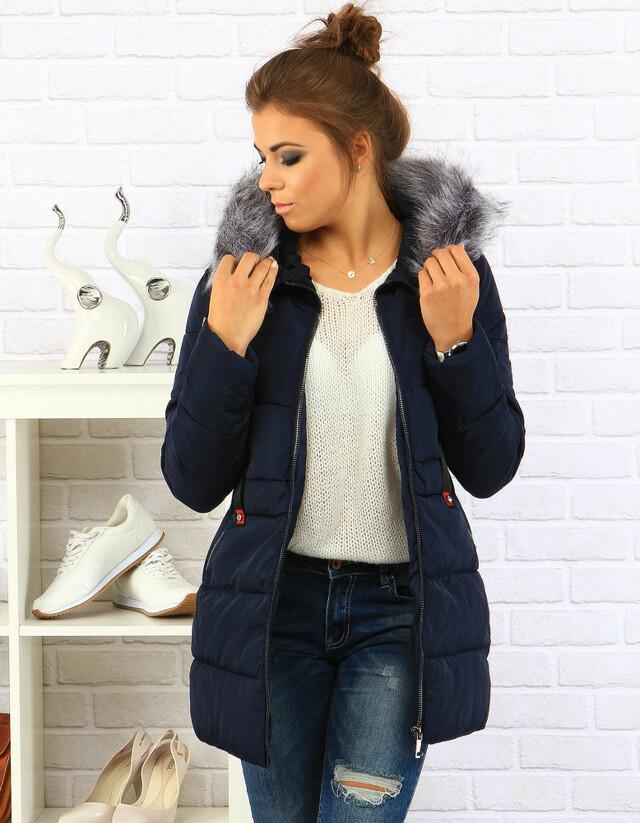 Dámská zimní bunda s kapucí 1709 (ty0098) - XIZIQI - XL - tmavě modrá