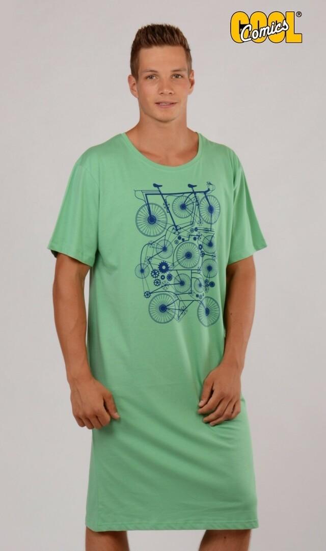 Pánská noční košile s krátkým rukávem Kolo - světle modrá M