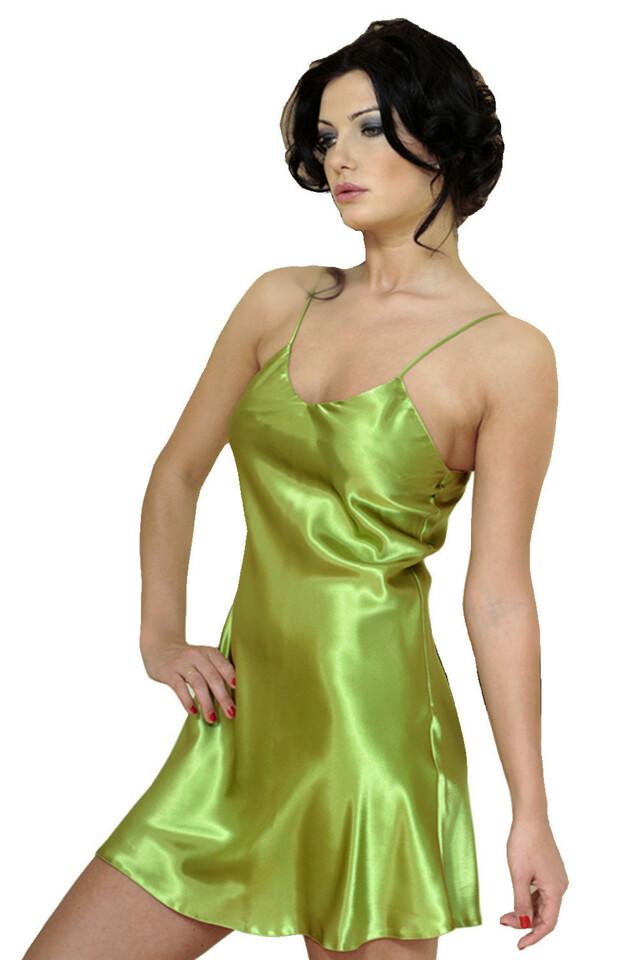 Saténová noční košilka Karen zelená - XL
