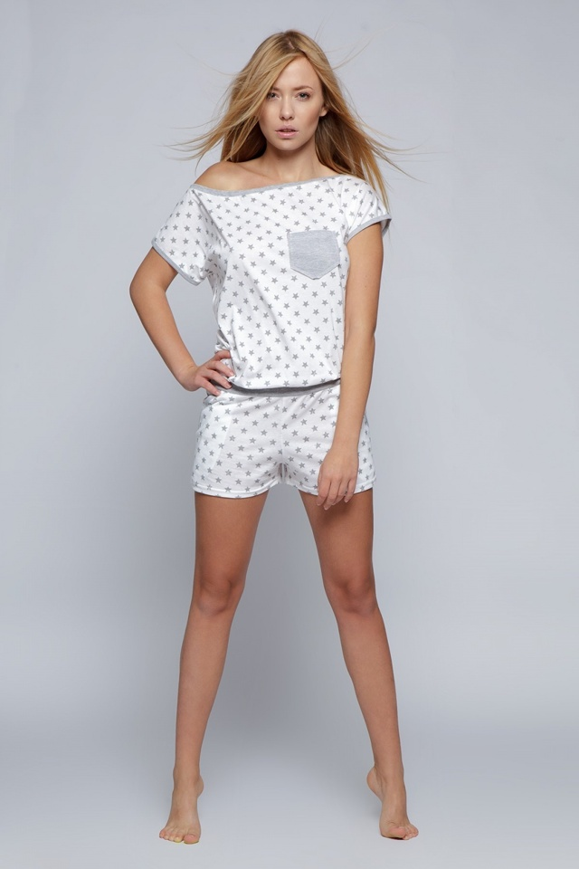Pyžamo overál Littele Star - Sensis - L/XL - šedo-bílá