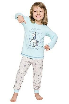 Dívčí pyžamo Elza tyrkysové dlouhé
