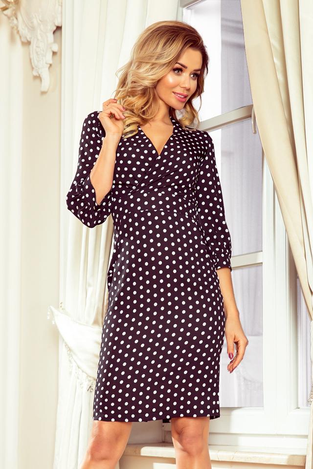 baf1a5e118 Černé dámské puntíkované šaty s nadýchanými rukávy 243-1 - M