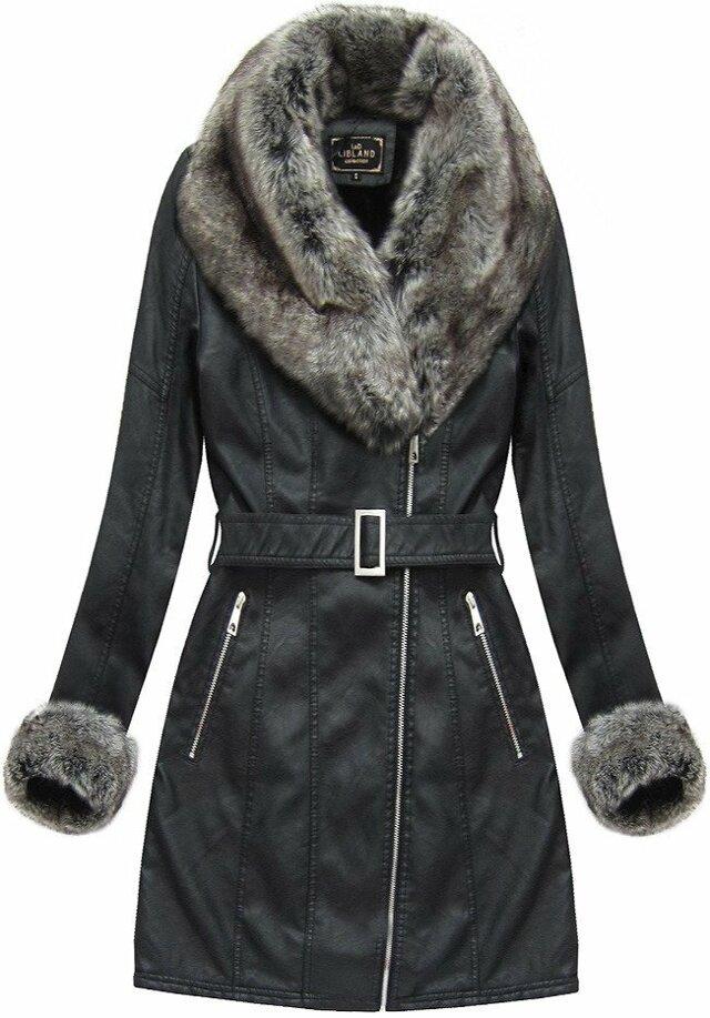 Černý dámský zimní kabát s kožíškem (5524BIG) - 46 - černá
