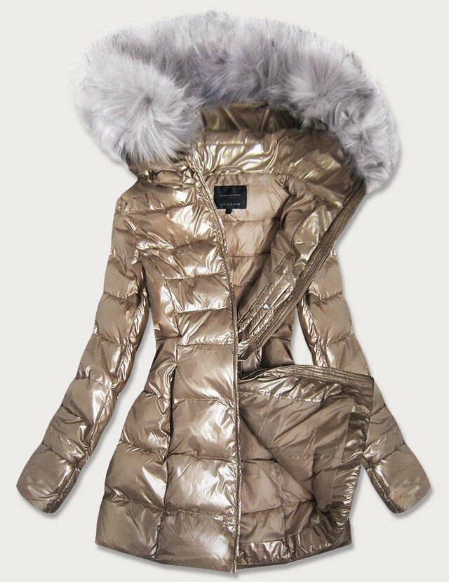 Zlatá lesklá dámská zimní bunda (GWW1939) - XXL (44) - zlatá
