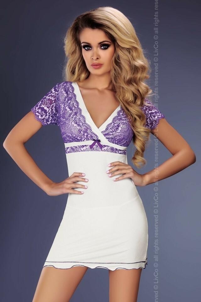 Dámská košilka Trudy - L/XL - bílá-fialová