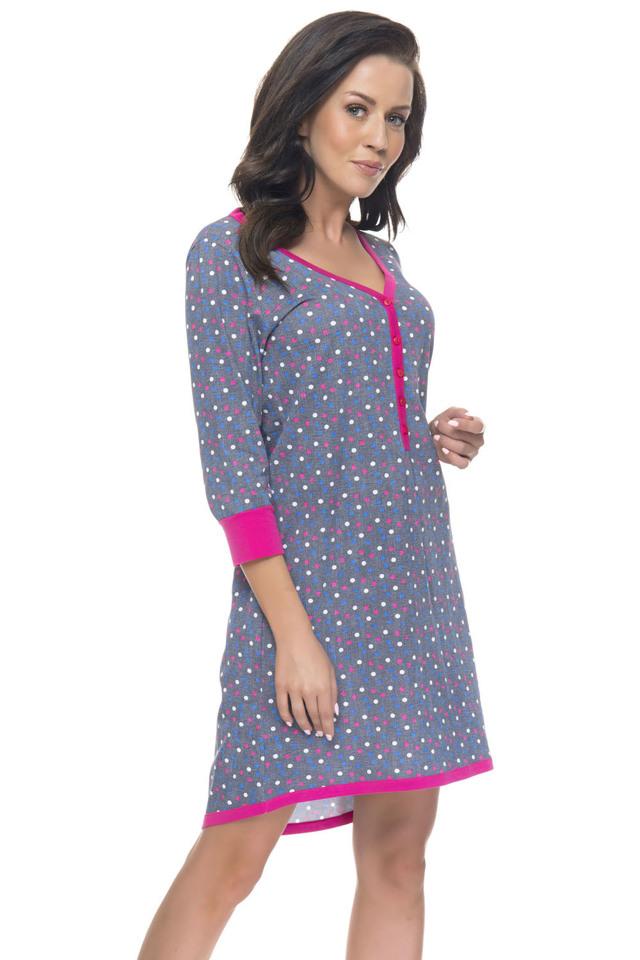 Těhotenská/kojící noční košile Dn-nightwear TM.4031 - M - šedé tečky
