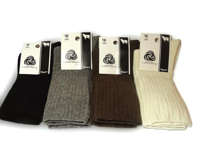 Ponožky z ovčí vlny - SKARPOL - krémová - 45/47