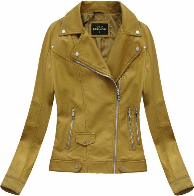 Klasická bunda ramoneska v hořčicové barvě (5327BIG) - 48 - žlutá