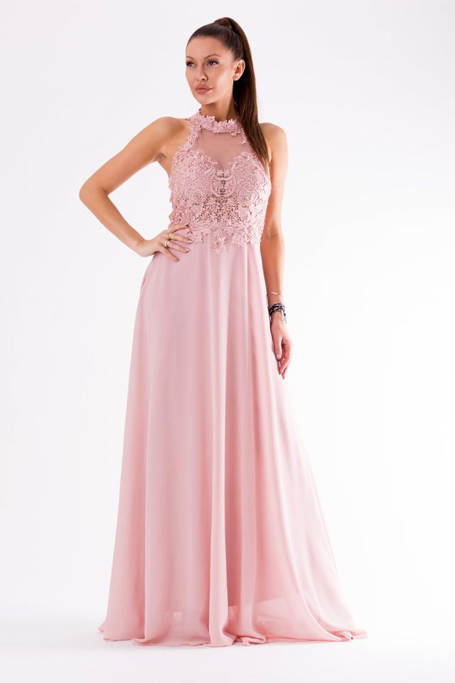 3b37c85b8cde Pudrově růžové šaty EVA LOLA 54003-2 - M
